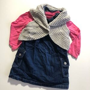 2T Old Navy Jean Dress Sweater Shawl Long Sleeve